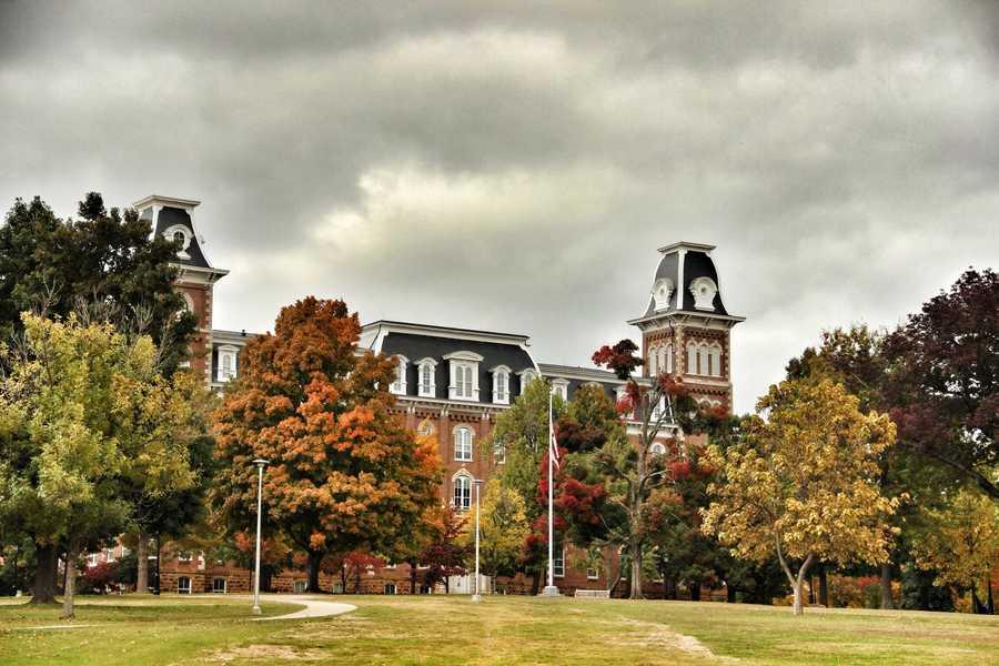 Fall day at Old Main at the University of Arkansas.