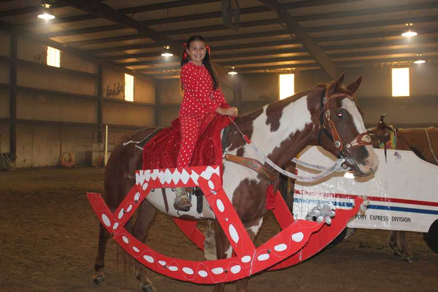 Falyn Cordeiro, 11,  decorated her horse, Winchester, as a rocking horse for the Northwest Arkansas Playdays horse and rider costume contest last weekend.