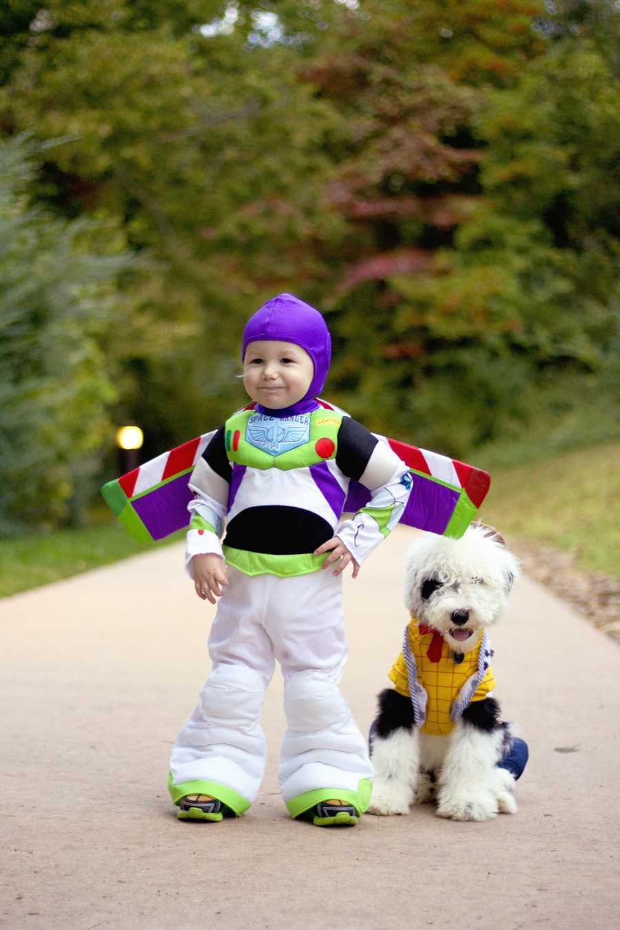 My son and his puppy all dressed up in their Halloween costumes! Can't wait for Trick Or Treating! :)