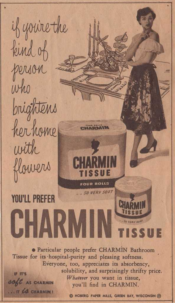 "Charmin's original packing featured the ""Charmin Lady."""