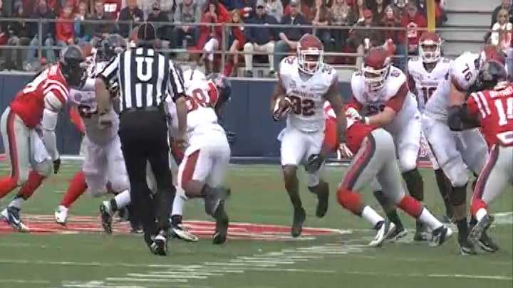 Jonathan Williams breaks through the Ole Miss defense for a big gain Saturday.
