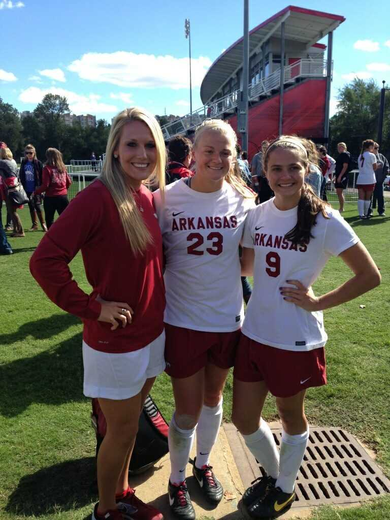 Kelly Roliard, Ashleigh Ellenwood and Blake Pruitt after a game