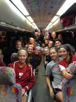 The team leaving the field after beating OSU 2-1 in Stillwater, Oklahoma Friday night in the first round of the NCAA tournament.