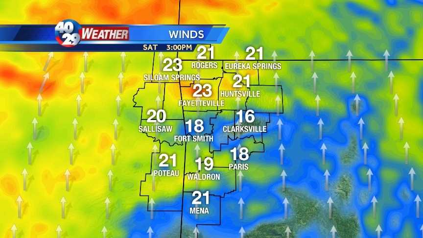 Winds could be gusting in the 20-30 mph range for Saturday