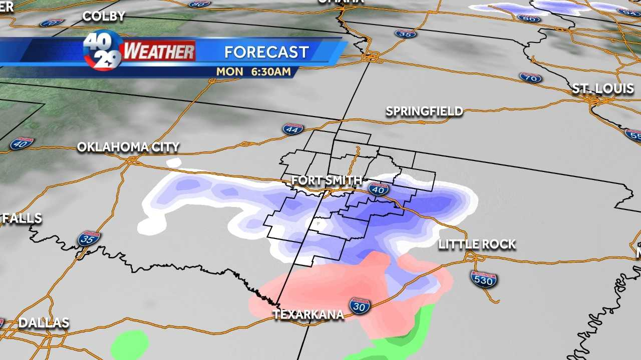 It's a mess of winter weather that's moving into the area just in time for the Monday morning commute.
