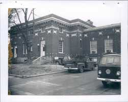 Trucks parked at the old post office in 1973.