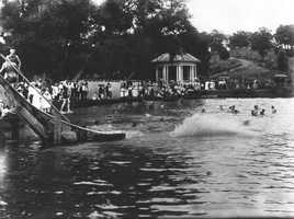 Swimming at Trent's Pond (now Wilson Park) in the 1920's.