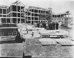 The Veteran's Administration Hospital under construction in 1933.
