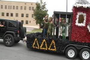 Sorority girls in the homecoming parade 100 years later, in 2013.