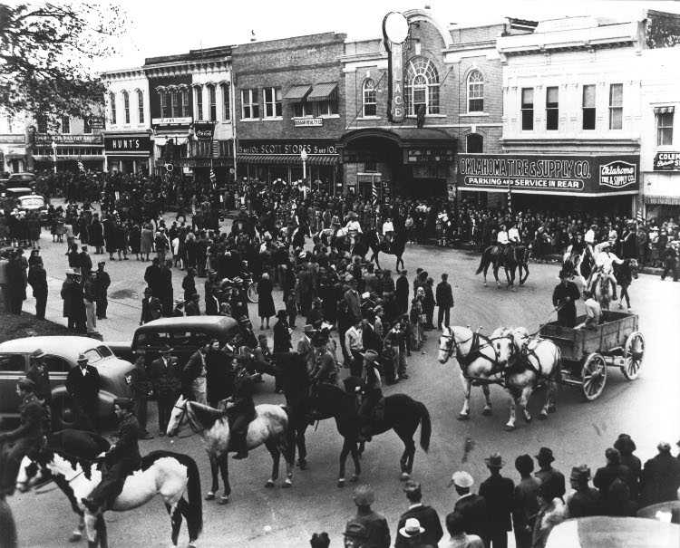 Rodeo Parade in the Square in 1945.