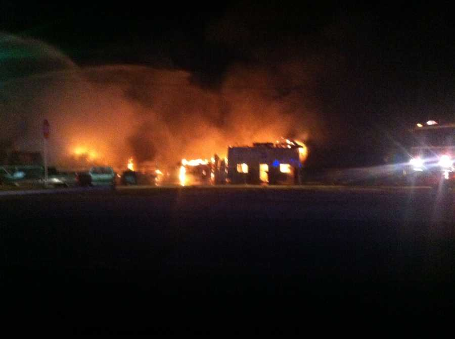 The owner of Anthony's Wrecker and Collision said at least 10 cars were burned in the fire Thursday night.