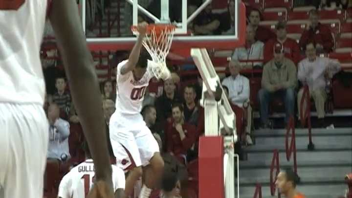 Rashad Madden finishes a two-handed slam for the Arkansas Razorbacks against Savannah State.