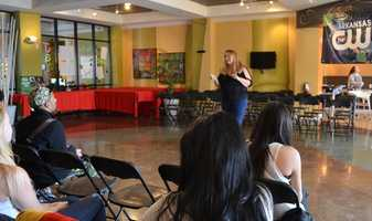 Professional Make Up Artist Kim Pease brought in by Project Fabulous to talk about make up and best practices.