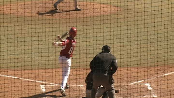 Tyler Spoon delivers a 3-run home run in the fourth inning against Appalachian State.