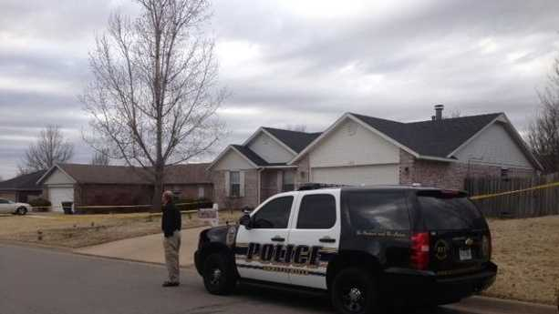 Police continue to search for a man suspected of breaking into a home and shooting another man inside.