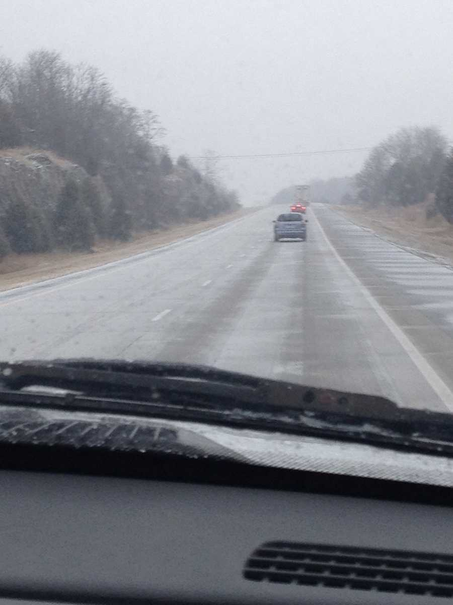 Icy roads on Interstate 540