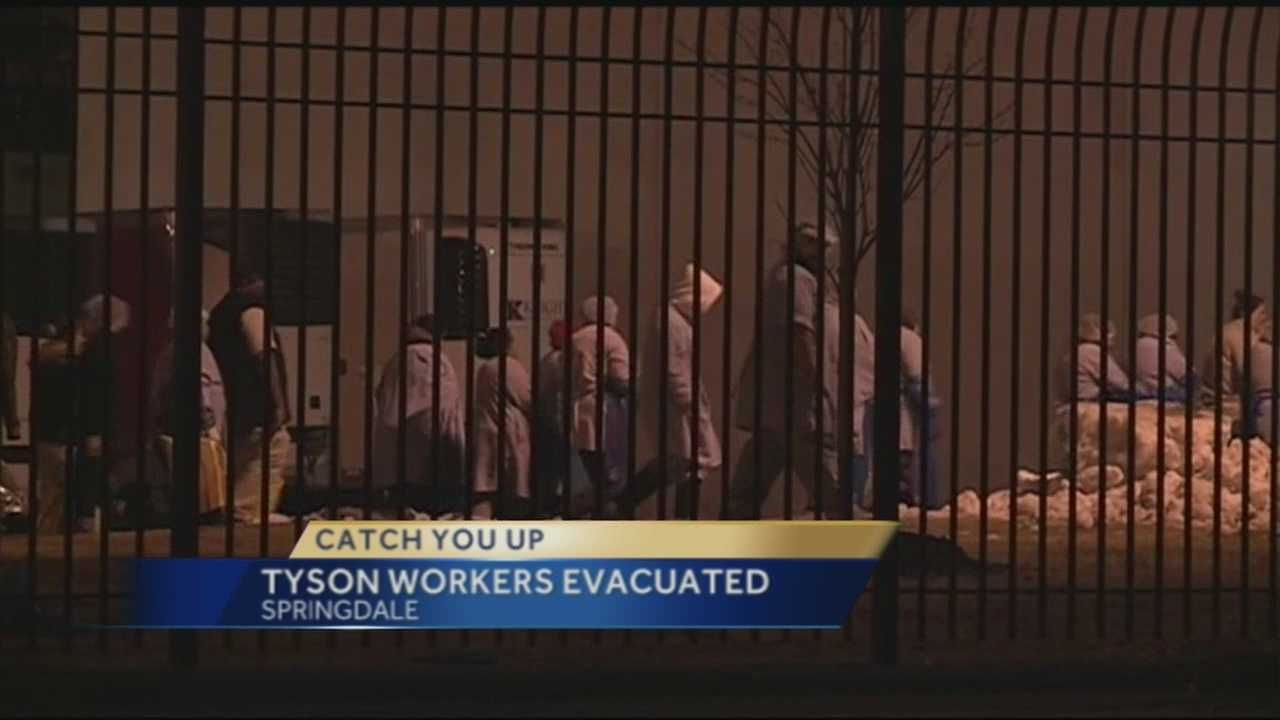 Overnight, a Tyson plant in Springdale was evacuated because of a possible ammonia leak.