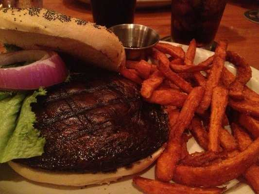 Grilled portobello and sweet potato fries, Hog Haus Brewing Co.