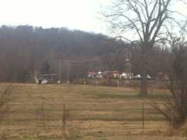 Helicopter transported victim to hospital following rollover on Huntsville Road
