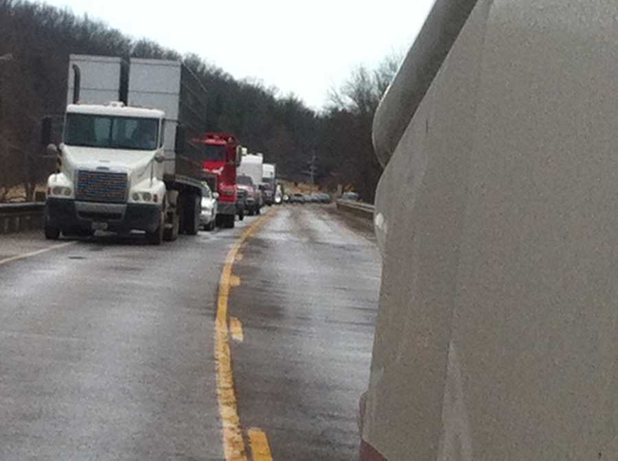 Traffic backed up following rollover accident on Huntsville Road