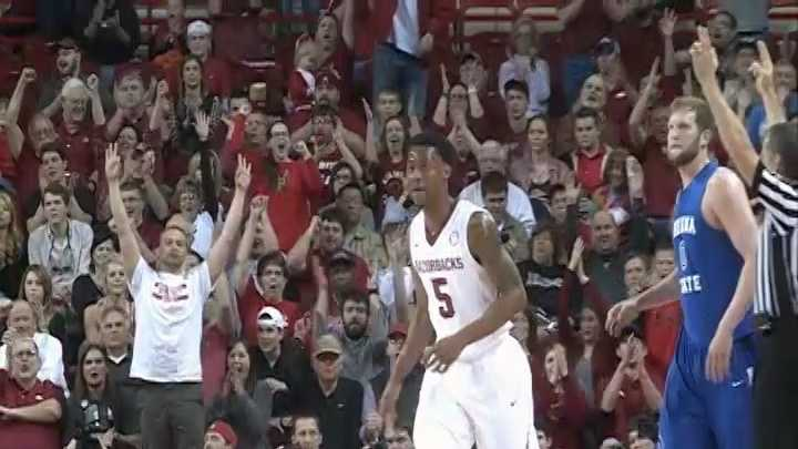 Anthlon Bell watches the crowd react after hitting one of his six 3-pointers in Tuesday night's win over Indiana State.