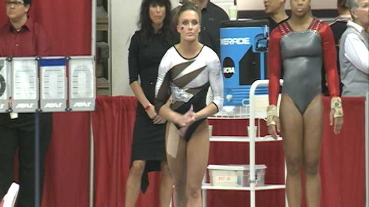 Razorback All-American Katherine Grable prepares for the vault during the NCAA Regional Meet at Barnhill Arena.