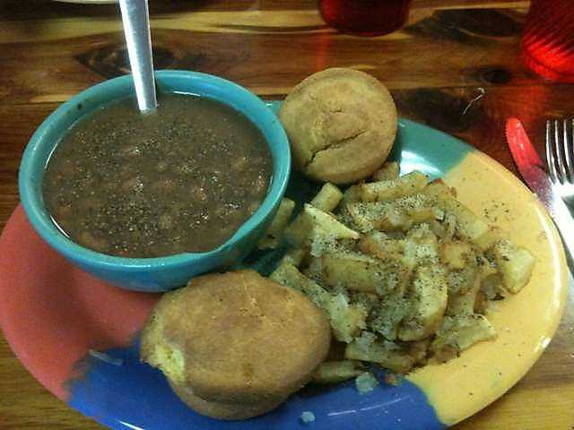 Brown Beans & Cornbread with Fried Potato's