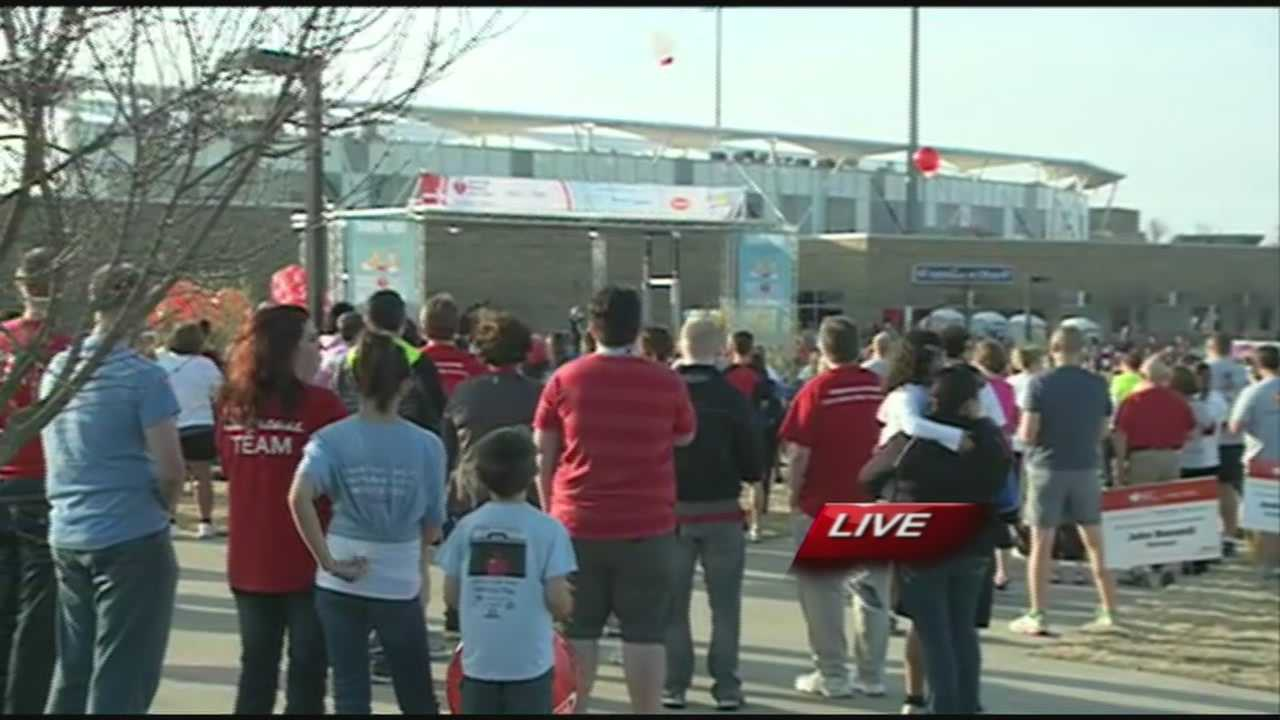 Thousands gathered for the American Heart Association's heart walk today at Arvest Ballpark.
