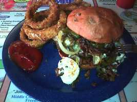 Inferno Burger and Onion Rings, Lewis's Family Restaurant-Fort Smith