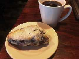 Blueberry Scone and Coffee, Mama Carmen's Espresso Cafe-Fayetteville