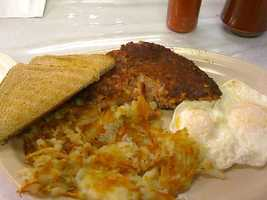 Corned Beef Hash with Over Easy Eggs and Hashbrowns, Rick's Iron Skillet-Fayetteville