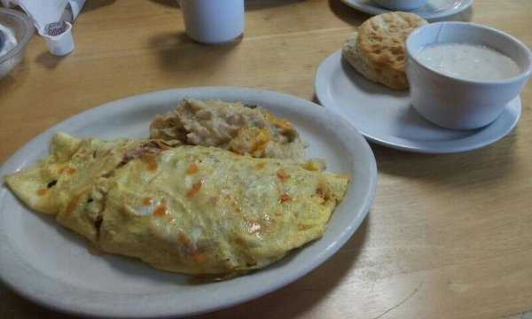 The John Wayne Omelet with Hash Brown casserole and biscuit and gravy, Rolling Pin Cafe-Fayetteville
