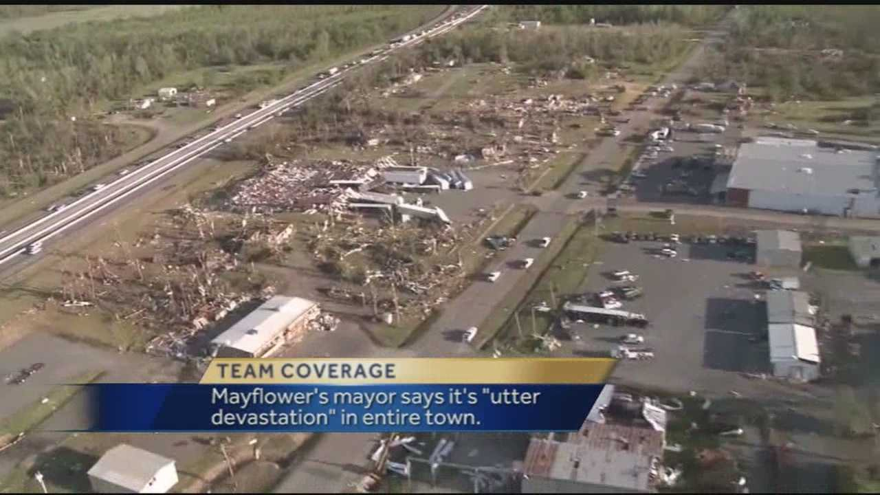 40/29's photographer captured these stunning images from helicopter ride over the ravaged areas of Mayflower and Vilonia. Homes and neighborhoods were completely flattened following a deadly tornado Sunday night.