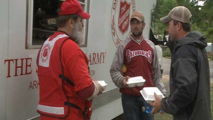 Hours after tornadoes ripped through Mayflower, Ark., the Salvation Army deployed crews to the area to help residents.
