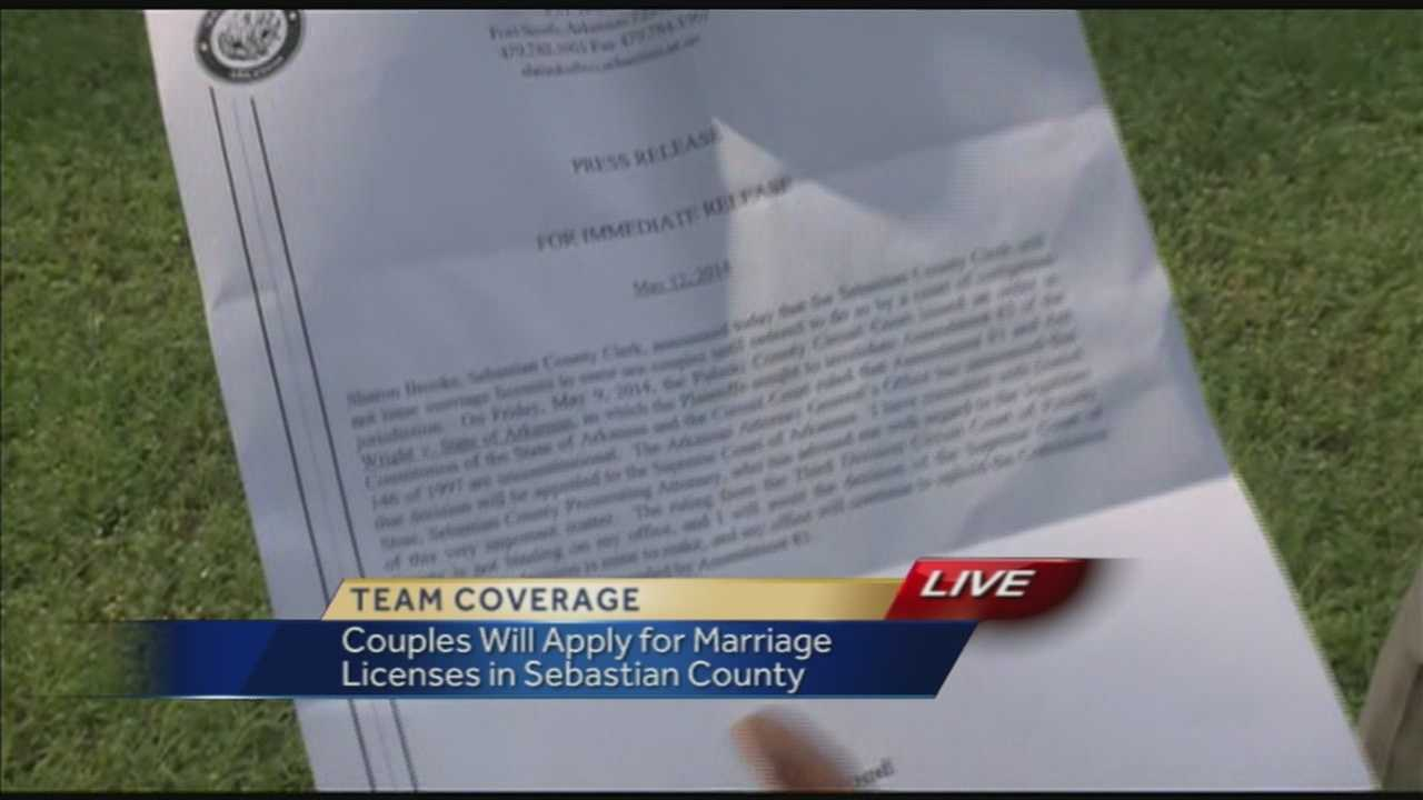 The Sebastian county clerk says they will not issue same-sex marriage licenses today.