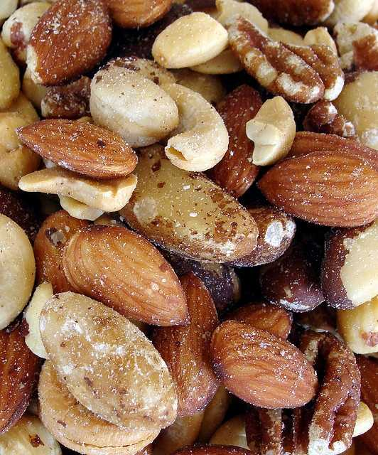 Just one ounce of most dry-roasted, salted peanuts contains 192 milligrams of sodium.