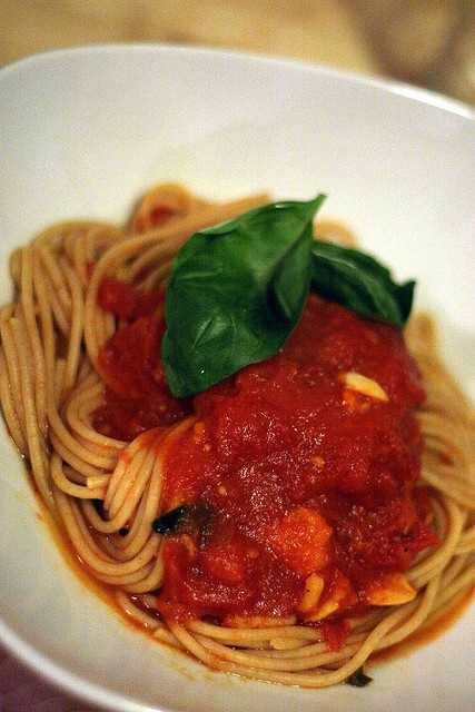 Just a half a cup of spaghetti sauce may pack 554 milligrams of sodium.