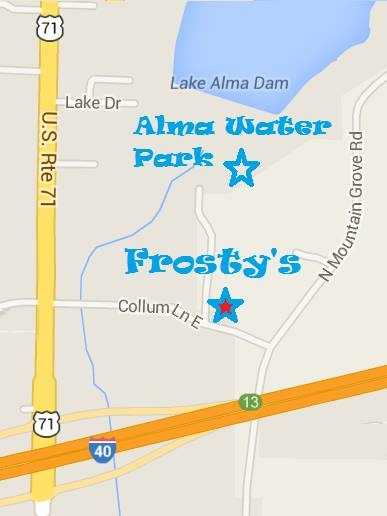 Check out Frosty's SnowCones in Alma, located near the Alma Water Park