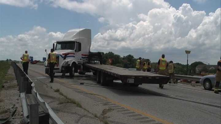 Interstate 49 backed up due to jackknifed semitrailer truck