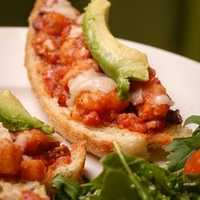 Travola Trattoria-Bentonville- Shrimp Crostini with Avocado and Mediterranean Salsa