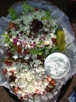 Kosmos Greekafe-Fayetteville-Classic Gyro plate with half Greek Salad