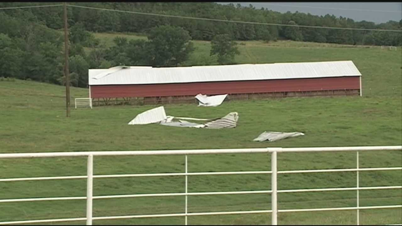 A thunderstorm Wednesday afternoon damaged roofs and downed trees in Franklin County.