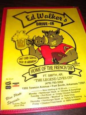 "Menu features Burgers, Fries, and famous ""French Dip"" sandwiches.  Ed Walker's also has outdoor patio dining."