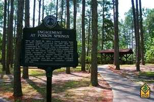 "Poison Springs Battleground State Park in CamdenIn the spring of 1864, three Civil War battles took place in south central Arkansas that were part of the Union Army's ""Red River Campaign."" The first battle occurred near Camden at Poison Springs on April 18 when Confederate troops captured a supply train and scattered Union forces. Poison Springs Battleground State Park features outdoor interpretive exhibits and picnic sites."