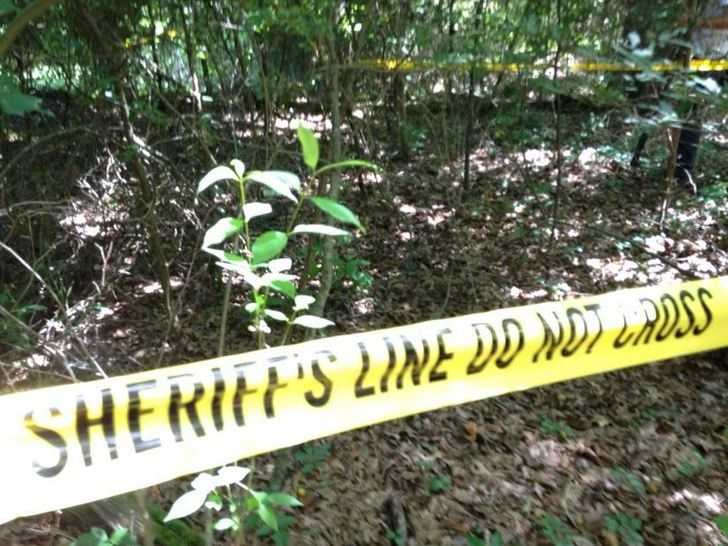 Gravesite where body was found by authorities