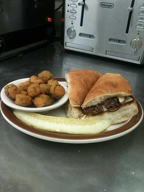 The patti melt has a .40 lb ground chuck patty with swiss cheese, grilled onions, on rye bread