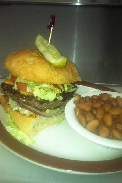 All Burgers and Sandwiches are served with your choice of Baked Beans, Chips and a Pickle, Pinto Beans, Potato Salad, French Fries, or Okra.