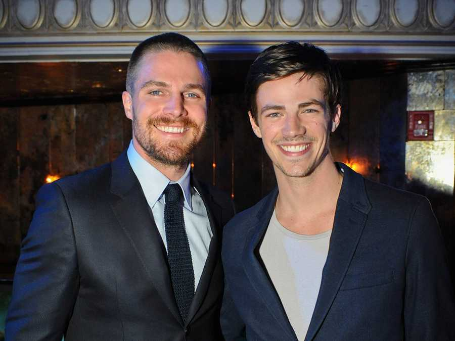 "Stephen Amell who plays superhero ""Arrow"" and Grant Gustin who will be playing Barry Allen/The Flash on the upcoming new series The Flash! Coming this fall-October 7th at 7 pm to the Arkansas CW!"