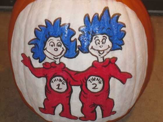 By Rhiannon_Steele:  Thing 1 and Thing 2 pumpkin I painted for Eve's 3rd Birthday Party.