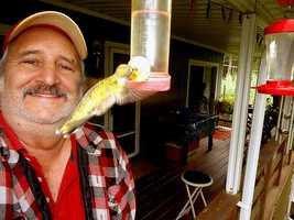 Hummie and Me Selfie - When I heard them say top this Selfie, I thought there were talking about me, so here is one of me and one of the Hummingbirds I feed. Not easy to hold the camera that far out and capture a picture with these little birds.